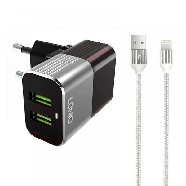 شارژر دیواری اصلی برند الدینیو مدل LDNIO A2206 به همراه کابل لایتنینگ اورجینال مناسب ایپد و ایفون Ldnio A2206 Dual USB Wall Charger With Auto-ID For IPhone IPad