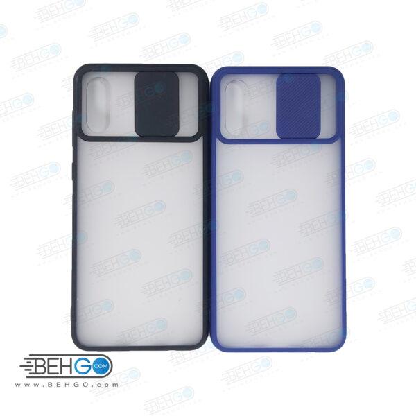 قاب   A02  کاور پشت مات محافظ لنزدار کشویی گارد A02 با محافظ لنز دوربین گوشی سامسونگ Lens Slider Case For Samsung A02