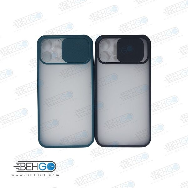 قاب Iphone12pro کاور پشت مات محافظ لنزدار کشویی گارد Iphone12pro با محافظ لنز دوربین گوشی آیفون Lens Slider Case For Iphone12pro