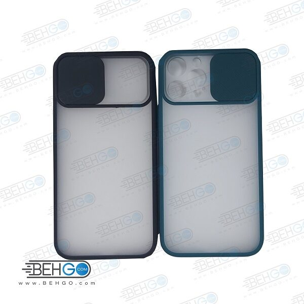 قاب Iphone12pro max کاور پشت مات محافظ لنزدار کشویی گارد Iphone12pro max با محافظ لنز دوربین گوشی آیفون  Lens Slider Case For Iphone12pro max