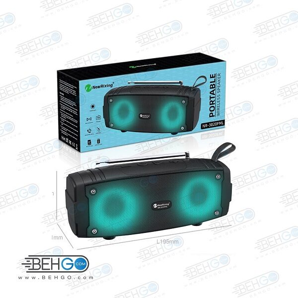 اسپیکر بلوتوثی فلش خور AUXخور رم خور قابل حمل با کیفیت NEW Rixing WIRELESS BLUETOOTH MODEL NR-3020FML