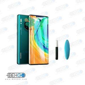 بهترین گلس گوشی هواوی میت 30پرو محافظ صفحه نمایش شیشه ای  هواوی میت 30پرو تمام صفحه با پوشش کامل مدل یو وی UV Nano Glass HUAWEI MATE 30 PRO