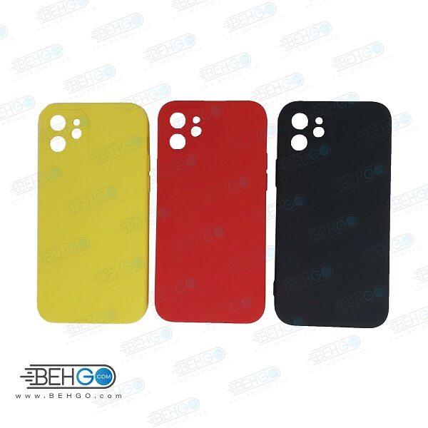قاب iPhone 12 کاور با محافظ لنز دوربین گوشی ایفون Apple iPhone 12 گارد سیلیکونی  iPhone 12 کاور محافظ آیفون دوازده  Silicone Case For Apple iPhone 12