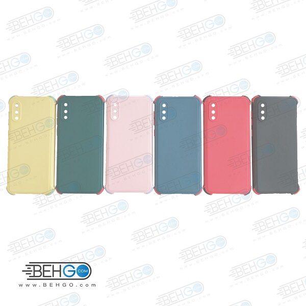 قاب سامسونگ A02 کاور مدل ژله ای دکمه رنگی محکم ضد ضربه با محافظ لنز دوربین گوشی A022 گارد محافظ قاب Camera Cover color key Case for Samsung A02/A022