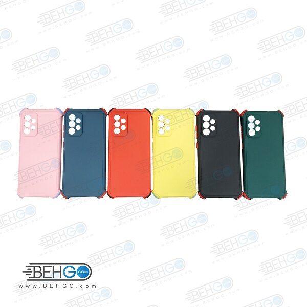 قاب سامسونگ A52 کاور مدل ژله ای دکمه رنگی محکم ضد ضربه با محافظ لنز دوربین گوشی A52 گارد محافظ قاب Camera Cover color key Case for Samsung A52