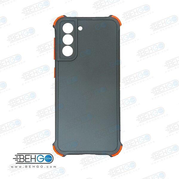 قاب سامسونگ S21  کاور مدل ژله ای دکمه رنگی محکم ضد ضربه با محافظ لنز دوربین گوشی S21  گارد محافظ قاب Camera Cover color key Case for Samsung S21