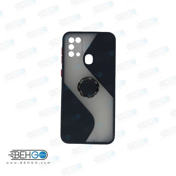 قاب گوشی سامسونگ M31  کاور m31 قاب پاپ سوکت دار با محافظ لنز دوربین گوشی m31 مدل حلقه انگشتی نگهدارنده موبایل