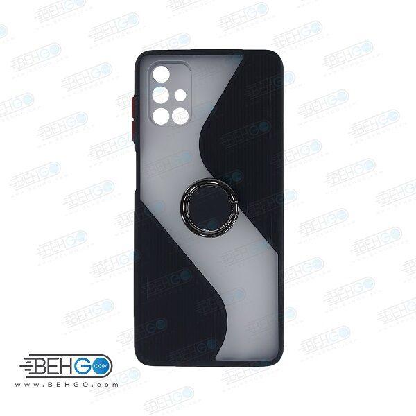 قاب گوشی سامسونگ M51  کاور M51 قاب پاپ سوکت دار با محافظ لنز دوربین گوشی M51 مدل حلقه انگشتی نگهدارنده