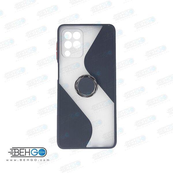 قاب گوشی سامسونگ M62  کاور M62 قاب پاپ سوکت دار با محافظ لنز دوربین گوشی M62 مدل حلقه انگشتی نگهدارنده موبایل مناسب