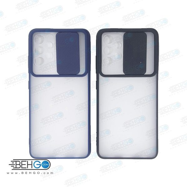 قاب A32 4G کاور پشت مات محافظ لنزدار کشویی گارد A32 4G  با محافظ لنز دوربین گوشی سامسونگ Lens Slider Case For Samsung Galaxy A32 4G