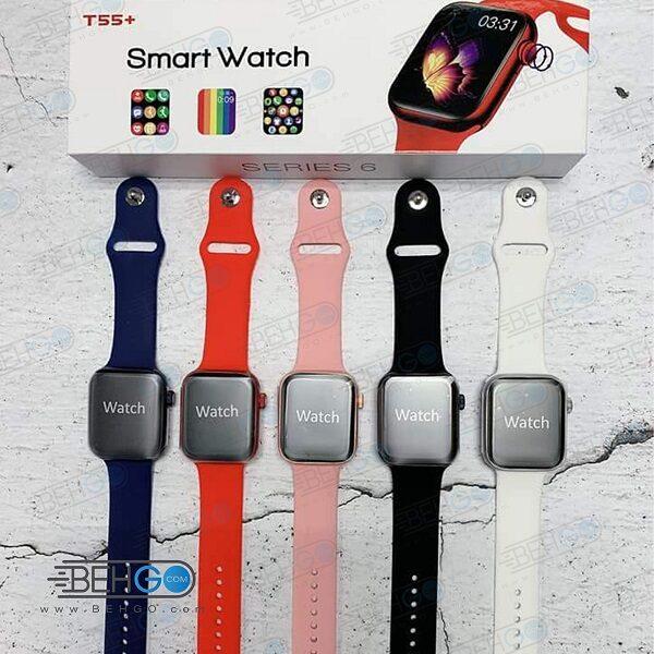 ساعت هوشمند واچ فون مدل +T55 اصلی سری 6 ساعت طرح اپل واچ ساعت مچی هوشمند اورجینال تی55 پلاس
