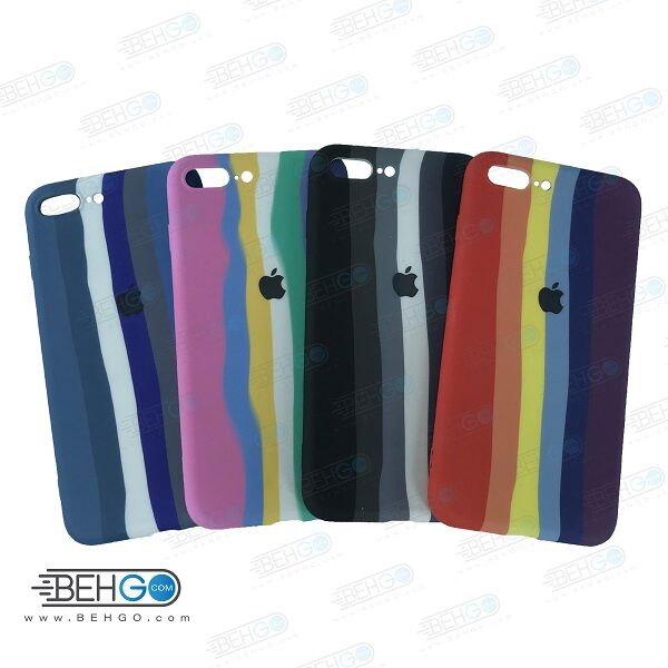 قاب گوشی آیفون 7PLUS/8PLUS کاور سیلیکونی رنگین کمان با محافظ لنز دوربین  iPhone 7PLUS/8PLUS