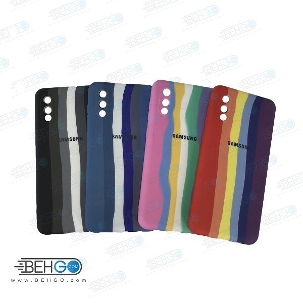 قاب گوشی سامسونگ A02 کاور سیلیکونی رنگین کمان با محافظ لنز دوربین Samsung A02/A022