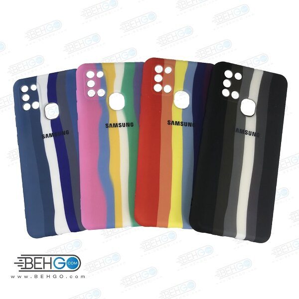 قاب گوشی سامسونگ A21S کاور سیلیکونی رنگین کمان با محافظ لنز دوربین Samsung A21S