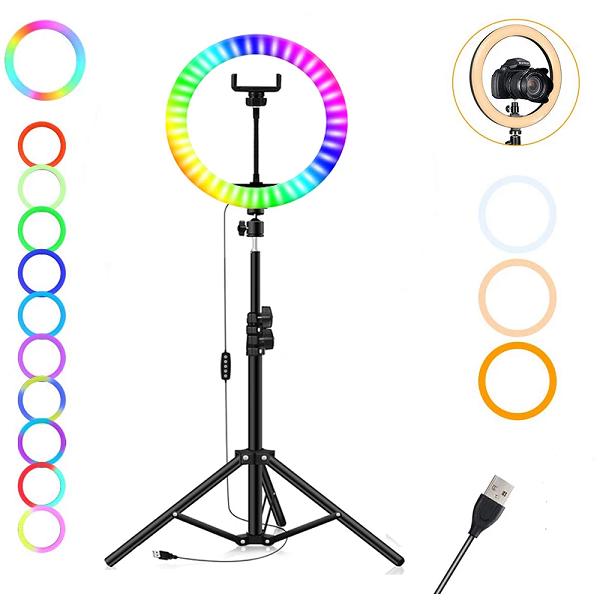 رینگ لایت حرفه ای با پایه 2 متری مدل RGB RING LIGHT MJ26
